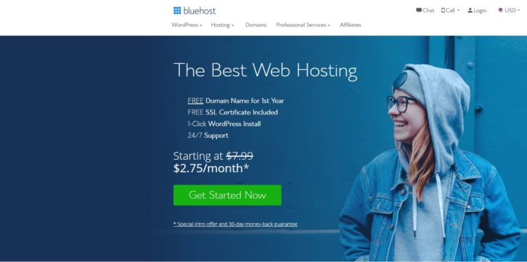 BlueHost 的 WordPress主机($3.95/月)